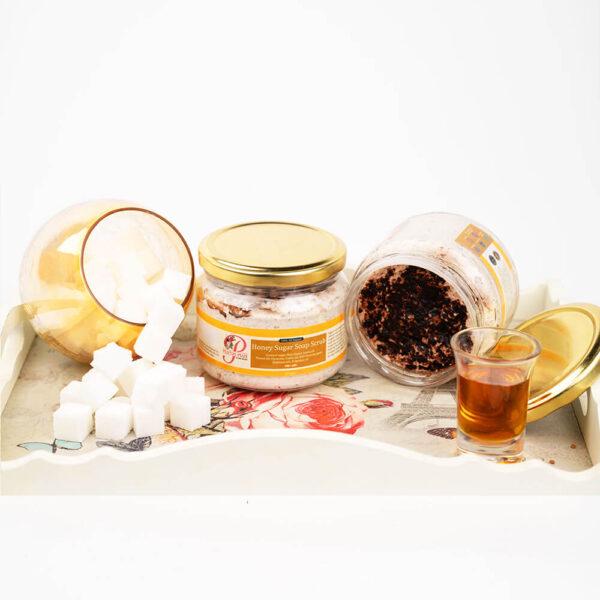 Honey sugar soap scrub product concept image