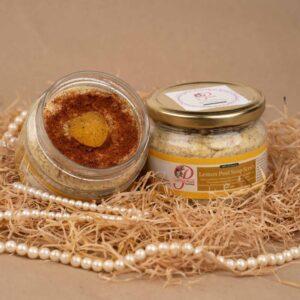 Lemon peel soap scrub product concept image